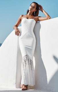 🚚 White bodycon mermaid lace crochet dress