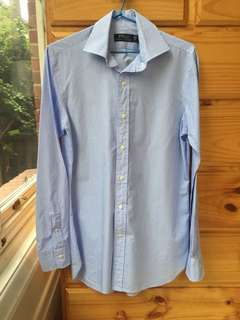 Ralph Lauren Blue and White Striped Shirt Size S