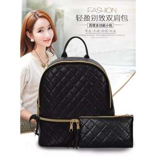Quilted Korean 2-in-1 Backpack