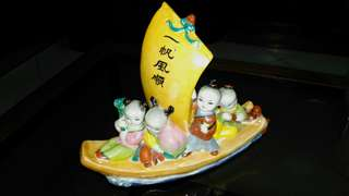 "Vintage Chinese Famille Rose Ceramic ""Smooth Sailing"" Boat."