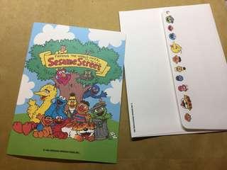 (包郵)全新sesame street 芝麻街Elmo cookies big bird萬用心意卡card DIY