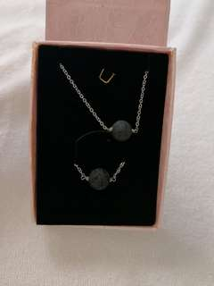 Lava stone diffuser necklace and bracelet set