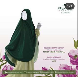 Gamis karimah lime mix double khimar nonpet forest green greentea by khadijah