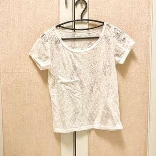 造型透膚白色上衣