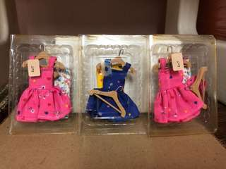 Miniature dress with hanger & cloth (in box) for miniature furniture and doll house