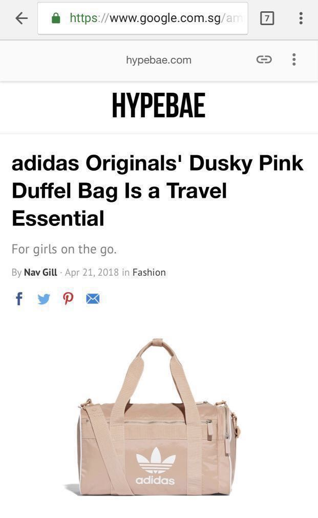 049bcc17a0 Adidas Originals Hypebae Dusty Pink Duffel Bag