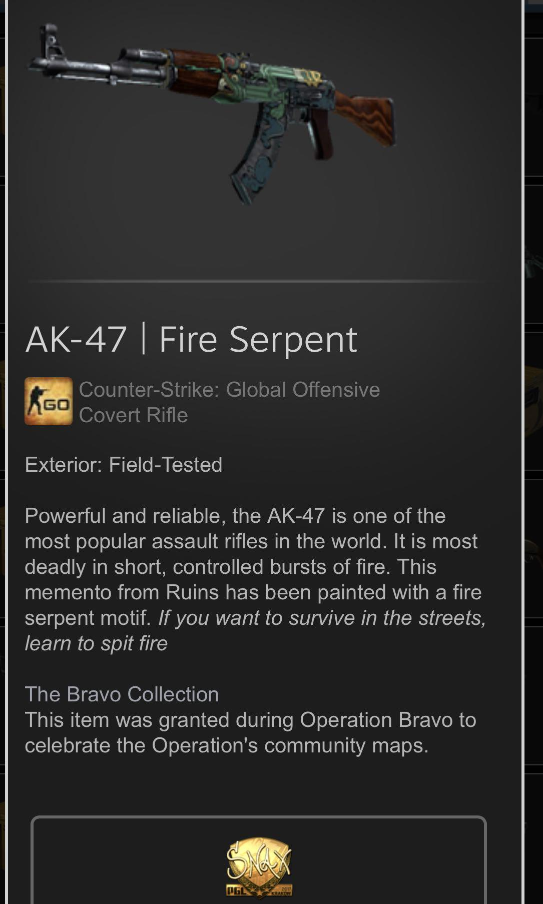 AK FIRE SERPENT CSGO, Toys & Games, Video Gaming, In-Game