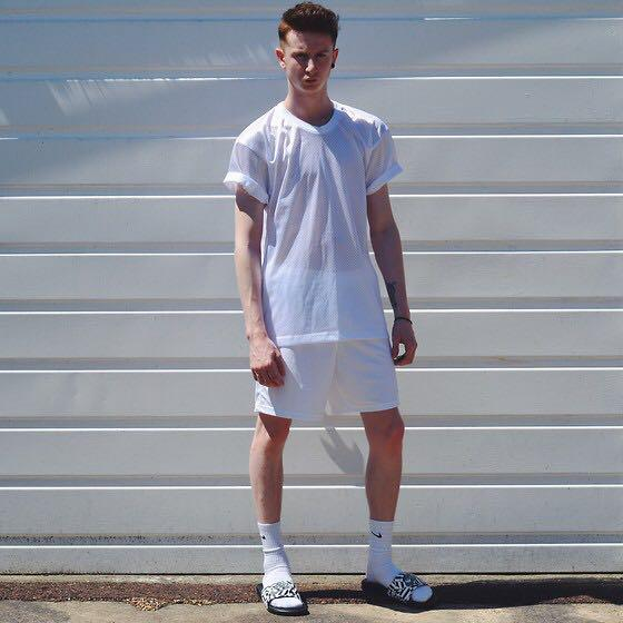 American Apparel White Mesh T-shirt