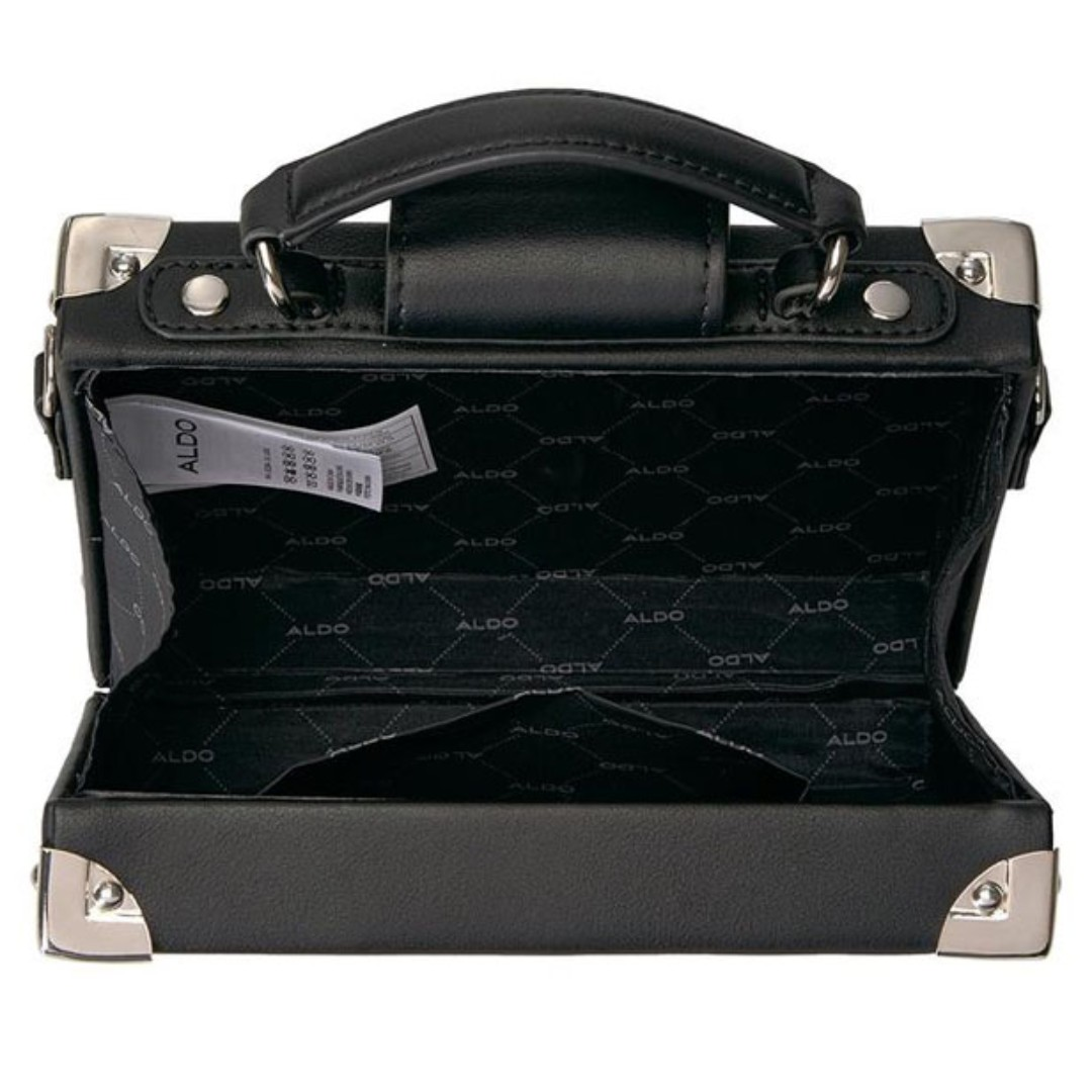 ff10b3ce4a5 AUTHENTIC ALDO LOCK DETAILED BOX BAG (BLACK) AL077