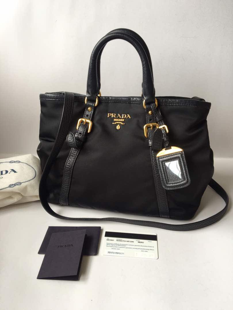 8be8e4b196f4 Authentic Prada BN1841 Tessuto Vit Daino Convertible Handbag with ...