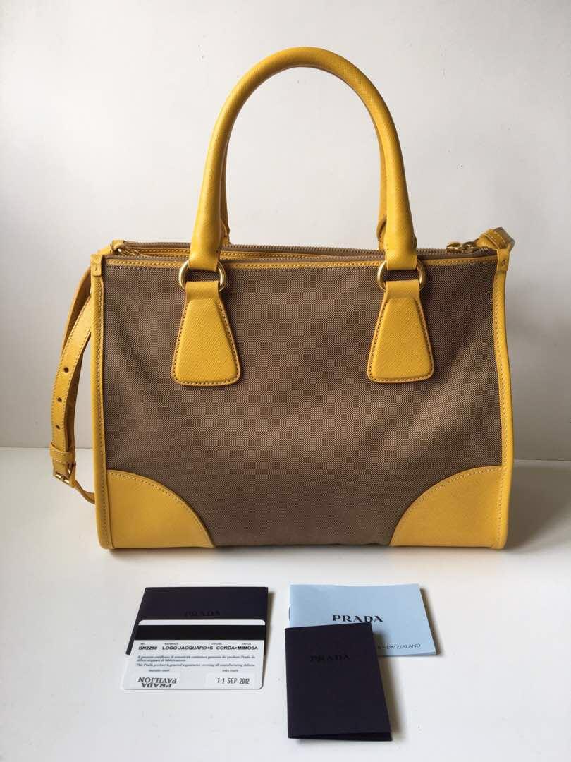 2fe7a21162edb2 Authentic Prada BN 2288 Logo Jacquard 2 Way Shoulder Bag, Luxury, Bags &  Wallets on Carousell