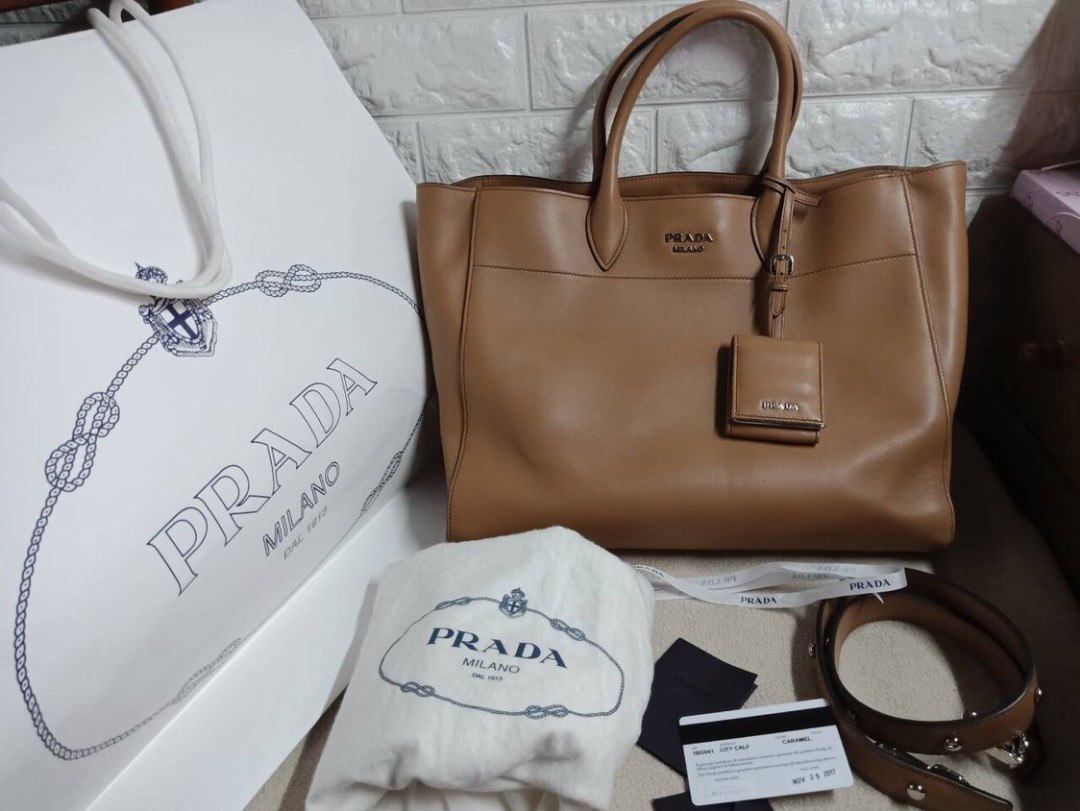 351d245dc938 authentic Prada brown city calf leather silver studded strap tote ...