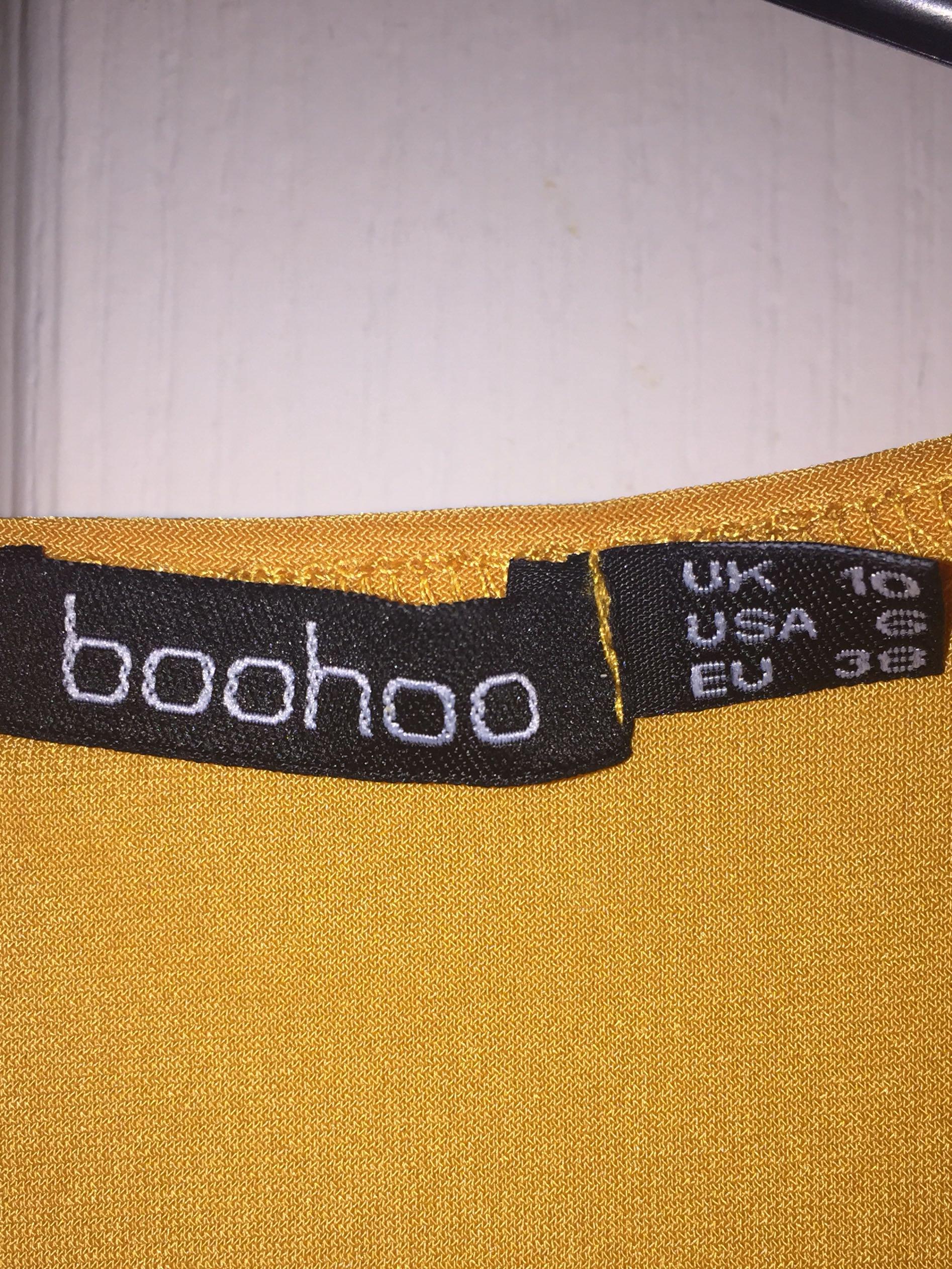 BOOHOO Mustard Tie Front Crop