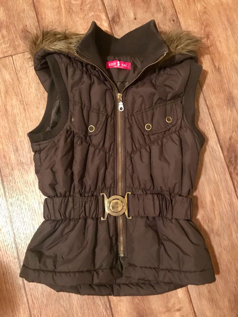 Brown Puffer Vest Size 8