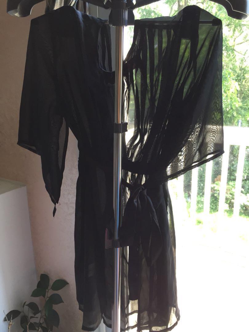 Delicate Black Vneck See through Top Sequin Ribbon Tie