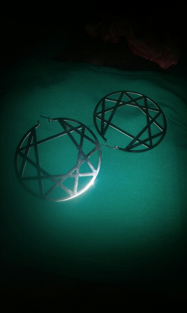 Kill Star gothic punk hoop earrings enneagram occult witch