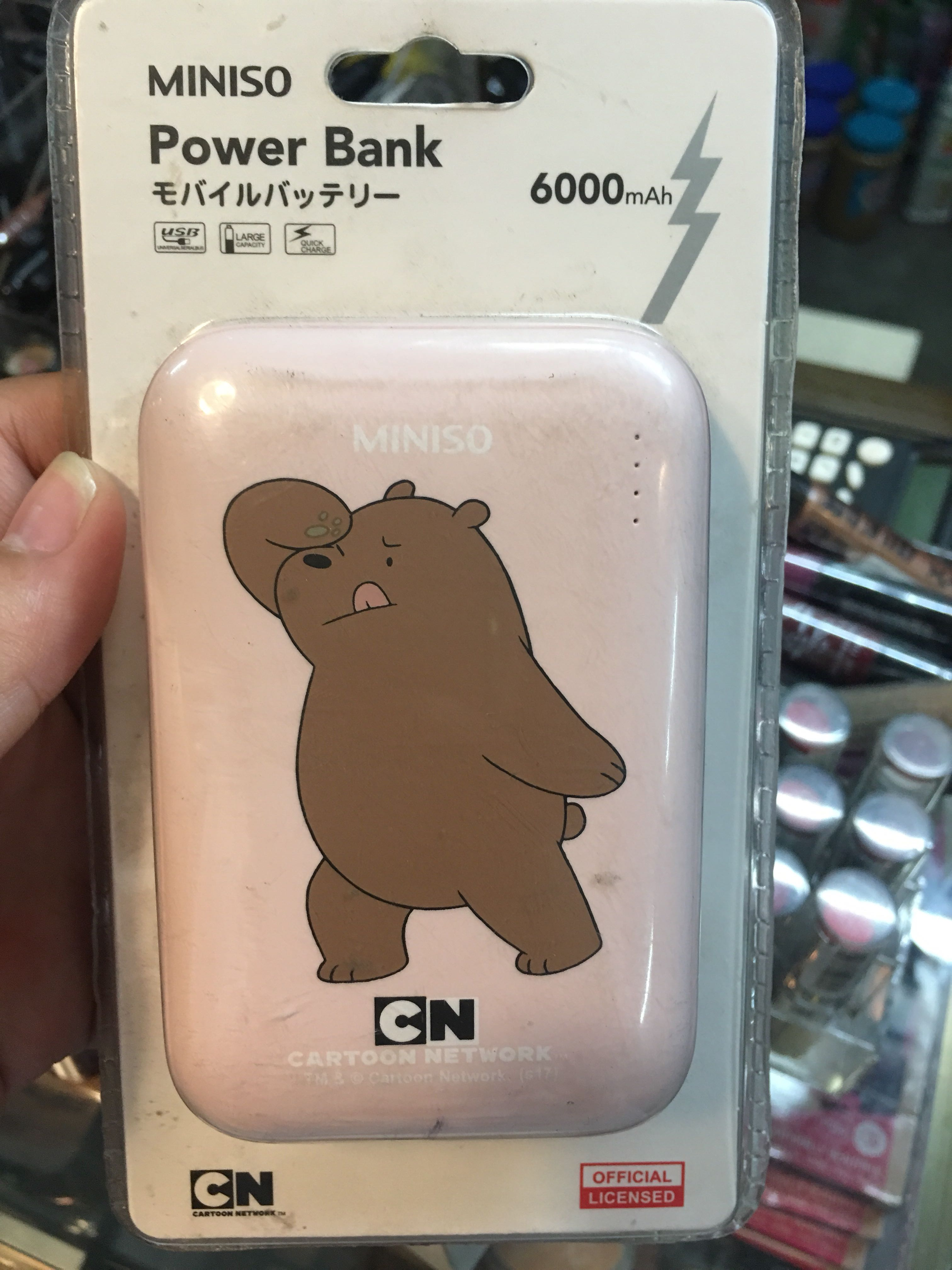 Miniso Bare Bears Power Bank 6000 Mah Electronics Others On Carousell