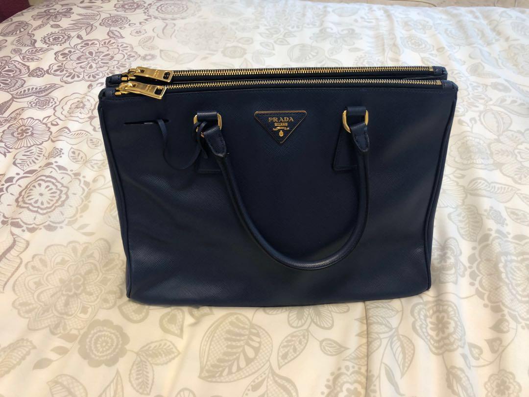 84cd0eab1f6f Prada saffiano double-zip executive tote in royal blue. , Luxury ...