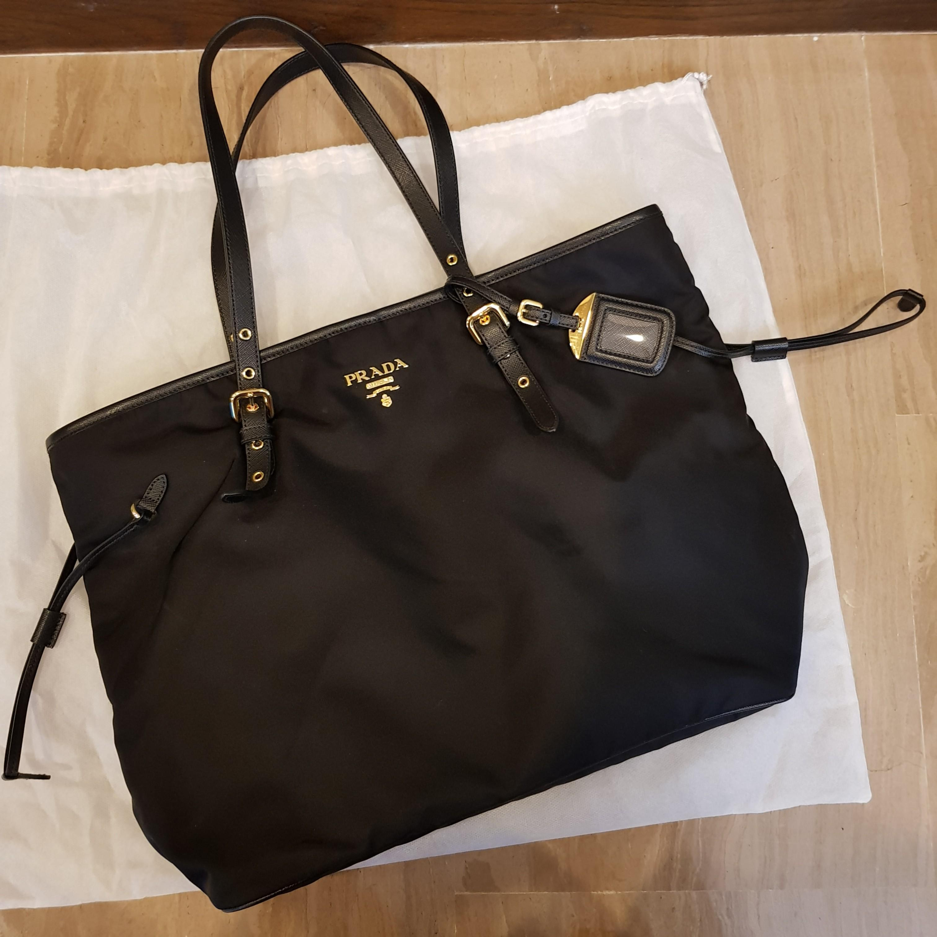 Prada Tote Bag Black Canvas with Leather Trimming