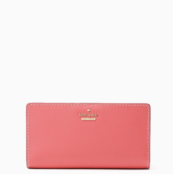 c4012d7925f5 SALE Kate Spade Thompson Street Stacy Medium Snap Wallet Bright Flamingo  Coral Pink Orange