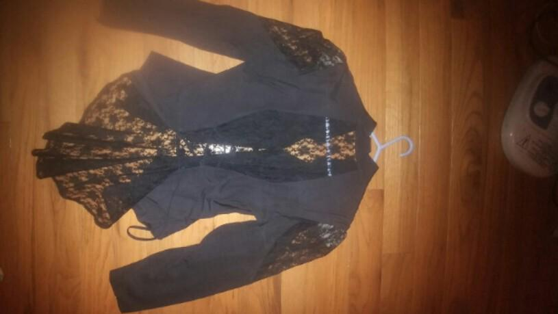 vintage Halloween vampire witch Victorian black lace panel corset puff sleeve blouse jacket