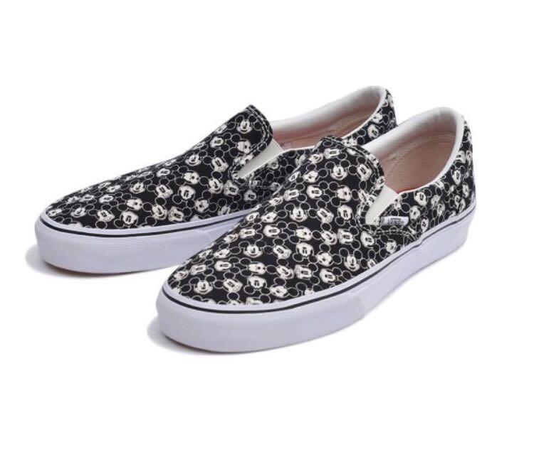 e48cb3df517b28 Vans x Disney Mickey Mouse Print Slip On Black Skate Shoes
