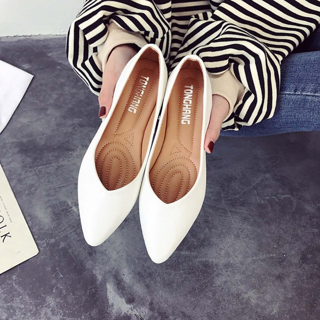 Women Pointed Flat Shoes Simple Casual Fashion Daily Wear Ladies Stylish Plus Size Black White Peach Beige Womens On Carousell