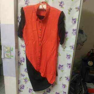 可換物破盤) 亮橘/黑雙色 超顯瘦 時尚長版上衣
