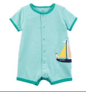 🚚 *3M & 9M* BN Carter's Sailboat Snap Up Cotton Romper For Baby Boy (