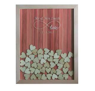 Personalized Wedding Guestbook - Wooden drop top
