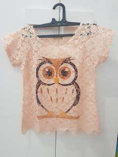Owl Brukat Top