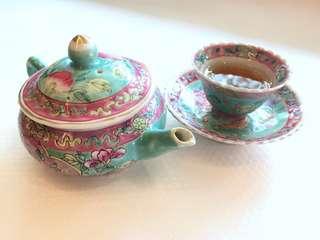 Peranakan Nyonya Teapot, cup & saucer-Sharing only