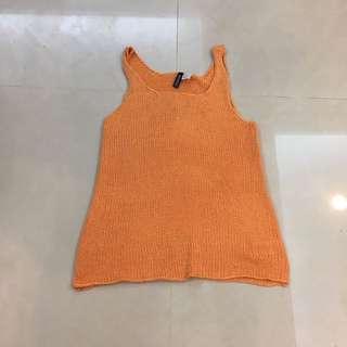 🚚 H&M HM 橘色 素色 針織 背心 洋裝 挖背 細肩 無袖 長版