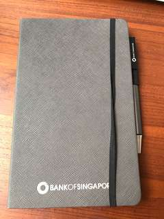 BN leather bound notebook blank with BN pen by bank of Singapore