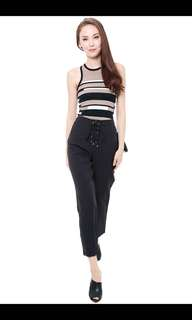 MDS Collections Leonal Laced Up Pants in Blacn