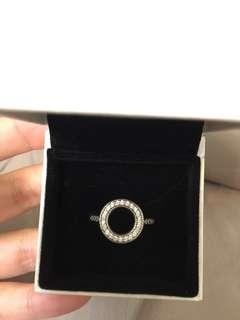 Pandora 圓形空心戒指 ring 側面心形 純銀