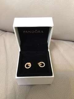 Pandora 玫瑰金 耳環 earrings 圓形空心