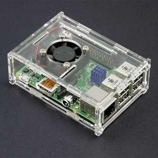 Acrylic Case for Raspberry Pi 3 Model B and Tinker Board + Pi Fan with power cord + Aluminum Heatsink