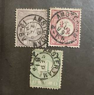 Netherlands early stamps numbers 3v used