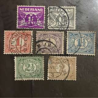 Netherlands early stamps 7v Used (some faults)