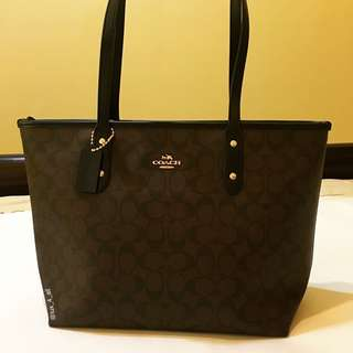 Coach Leather Tote - Brown Black