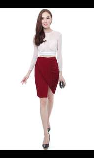 MDS Collections Pleated Draped Skirt in Maroon