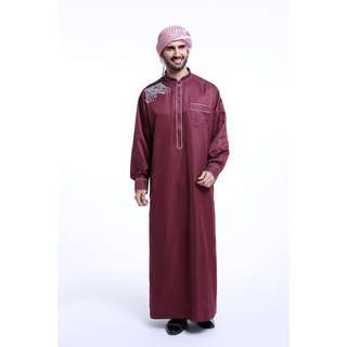 JUBAH MAROON SULAM SILKY PLUS SIZE