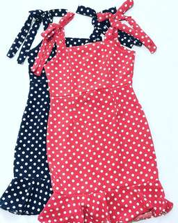 Polka dots with bow gingham dress