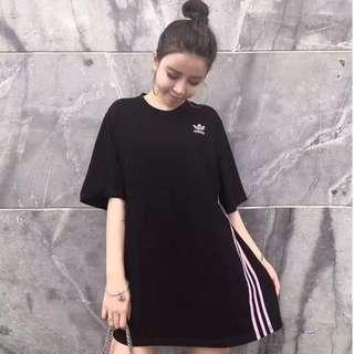 adidas CLFE TEE 愛迪達 男女情侶經典款 三條線黑白潮流簡約寬鬆短袖T恤 韓版上衣 衣服 三葉草T恤