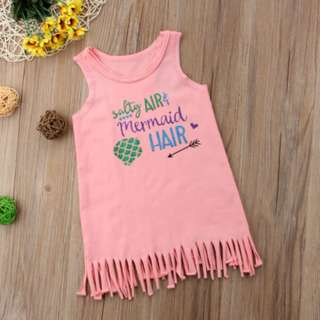 🚚 Toddler Baby Kid Girls Vest Dresses Cute Party Skirt singlet Outfit mermaid pink