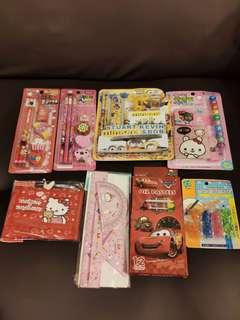 韓國文具套裝$25 學習筆套$8 Hello Kitty銀包$50 三角呎量角器套裝$10