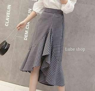 🚚 鬆緊格紋裙 裙子 skirt