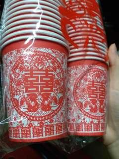 全新 結婚 囍字敬茶紙杯 約 250ml, 50隻