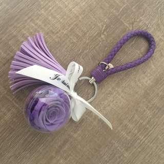 🚚 永生花鑰匙圈 紫色